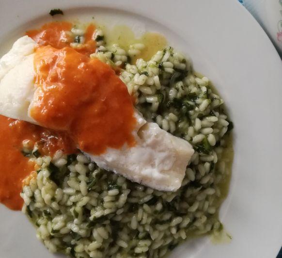 Receta de arroz: risotto verde con bacalao