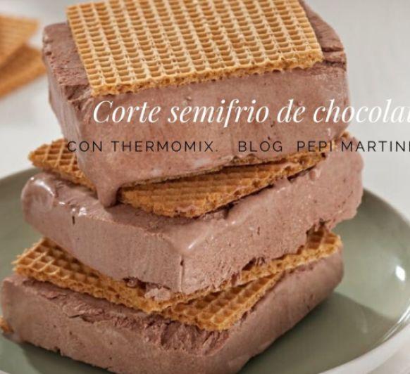 Corte de semifrío de chocolate Con Thermomix®