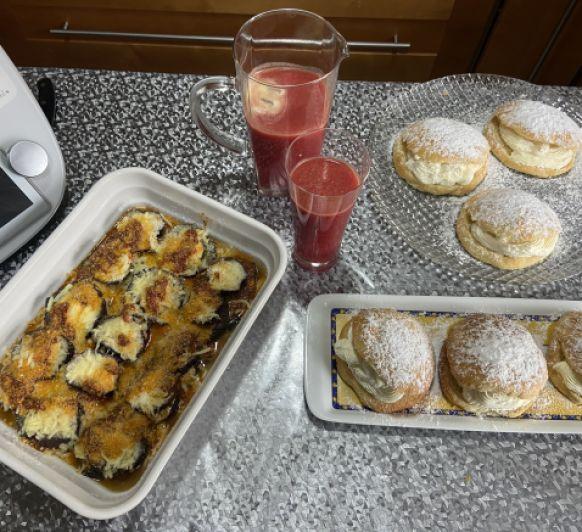 Clase de cocina con Thermomix® Banba de nata,Berengenas a la parmesana y zumo