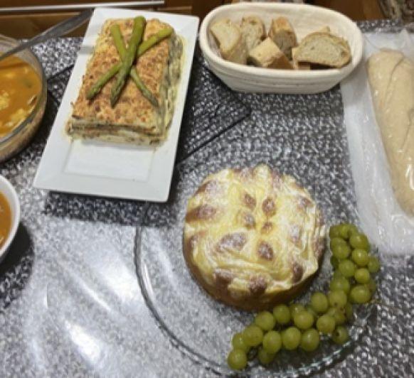 Clase de cocina :bizcocho,baguettes,sopa,pastel de pisto con Thermomix®