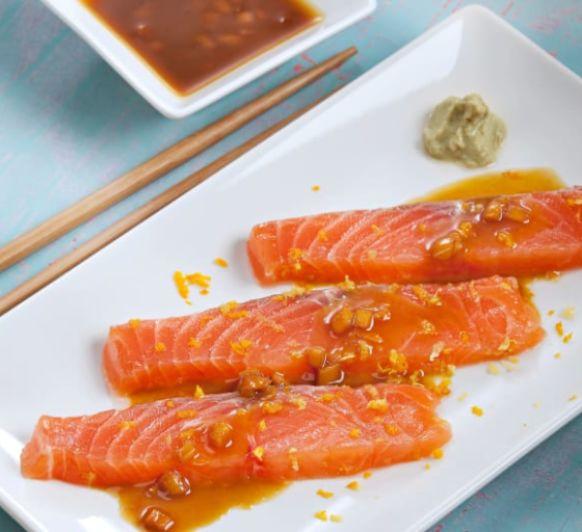Salmón marinado al jengibre con salsa de cítricos y wasabi con Thermomix® (Delegación Méndez Álvaro)