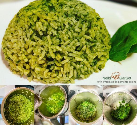 Arroz con espinacas o arroz verde