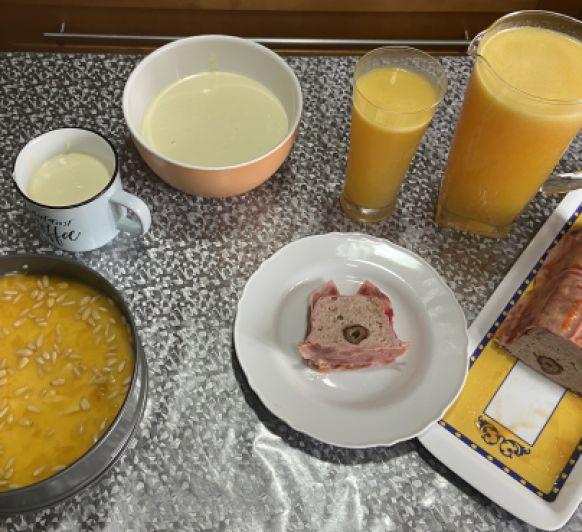 Clase de cocina tarta Suiza,Terrina de pavo,Gazpacho de espárragos,Agua Valenciana
