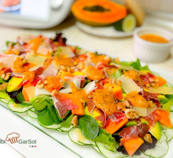 Ensalada con vinagreta de semillas de papaya