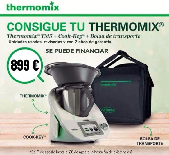 Tu Thermomix® tm5 por sólo 899 con el Cokey y la bolsa de transporte incluido.